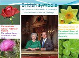 British symbols The Queen of Great Britain is Elizabeth II. Her husband is Duke of Edinburgh. The rose is the national emblem of England. The national flower of Scotland is the thistle. The national flower of Wales is the daffodil. The national flower of Northern Ireland is the shamrock.