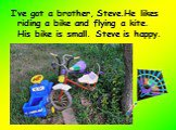 I've got a brother, Steve.He likes riding a bike and flying a kite. His bike is small. Steve is happy.