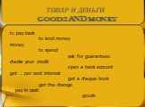 to pay back to lend money money to spend ask for guarantees checks your credit open a bank account get … per cent interest get a cheque book get the change pay in cash goods