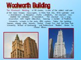 The Woolworth Building, at 55 stories, is one of the oldest and one of the most famous skyscrapers in New York City. With splendor and a resemblance to European Gothic cathedrals, the structure was labeled the Cathedral of Commerce. The structure has a long association with higher education, housing