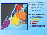 The five boroughs: 1:Manhattan, 2:Brooklyn, 3:Queens, 4:Bronx, 5:Staten Island. New York City is comprised of five boroughs, an unusual form of government used to administer the five constituent counties that make up the city.