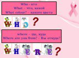 Who - кто What – что, какой What colour? – какого цвета. where – где, куда Where are you from? – Вы откуда?