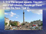 1. It is the largest sguare. You can see a tall column. People go there to see the New Year in.