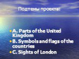 Подтемы проекта: A. Parts of the United Kingdom B. Symbols and flags of the countries C. Sights of London