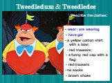 Tweedledum & Tweedledee. - wear / are wearing - have got - a yellow cotton shirt with a bow; - red trousers; - a funny red cap with a flag: - red trousers - no socks - brown shoes