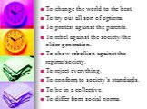 To change the world to the best. To try out all sort of options. To protest against the parents. To rebel against the society/the older generation. To show rebellion against the regime/society. To reject everything. To conform to society's standards. To be in a collective. To differ from social norm