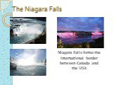 The Niagara Falls. Niagara Falls forms the international border between Canada and the USA
