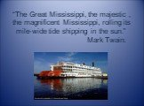 """""""The Great Mississippi, the majestic , the magnificent Mississippi, rolling its mile-wide tide shipping in the sun."""" Mark Twain."""