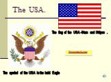 The USA. The symbol of the USA is the bold Eagle. The flag of the USA -Stars and Stripes .