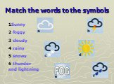 Match the words to the symbols. 1Sunny 2 foggy 3 cloudy 4 rainy 5 snowy 6 thunder and lightning. a b c d e f