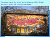 The main thing for writer is the culture graffiti .Writer should not spoil the valuable buildings.