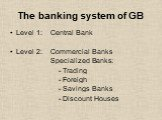 The banking system of GB. Level 1: Central Bank Level 2: Commercial Banks Specialized Banks: - Trading - Foreigh - Savings Banks - Discount Houses