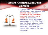 Factors Affecting Supply and Demand. Two primary factors that affect supply and demand are interest rates and the strength of the originating country's economy as a whole. Fundamental indicators, such as foreign investment, PPI, CPI, GDP, and the trade balance, echo the overall health of the economy