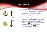 THE TRADE Buy Sell. Traders generate profits, or losses, by speculating whether a currency will rise or fall in value in comparison to another currency. A trader would buy the currency which is anticipated to gain in value, or sell the currency which is anticipated to lose value against another curr