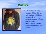 Culture. This culture is very various. They like to use narcotic facilities. Almost all of representatives of this culture from unsuccessful families. Many are involved in crimes.