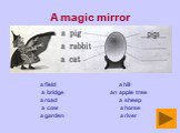 A magic mirror. a field a hill a bridge an apple tree a road a sheep a cow a horse a garden a river