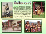 The Maori people are the indigenous people of New Zealand. Maoritanga is the native language. It is believed that the Maori migrated from Polynesia in canoes about the 9th century to 13th century AD. The Maoris lived in tribes called 'iwi'. They lived in villages and were fishermen, hunters and fram