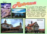 Rotorua is a town on the southern shore of Lake Rotorua in the Bay of Plenty region. The city has a population of 53,000, of which one third is Māori. Rotorua is well-known for geothermal activity. There are a number of geysers, notably the 20-m Pohutu geyser at Whakarewarewa, and hot mud pools loca