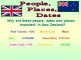 People, Places, Dates. Why are these people, dates and places important in New Zealand? Abel Tasman, 1642 Mount Cook Maori kiwi 4,182,000 Queen/King of Britain James Cook, 1768 South Island 250,000