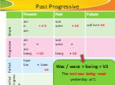 Past Progressive. The text was being read yesterday at 5. Was / were + being + V3