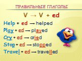 Правильные глаголы. V → V + ed Help + ed → helped Play + ed → played Cry + ed → cried Stop + ed → stopped Travel + ed → travelled