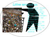 Litter around us. People drop litter around and they don't think about consequences. We should take thought about saving the environment. Because it is one of the biggest gifts of the life. We should try, to stop pollution growing.