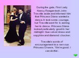 During the gala, First Lady Nancy Reagan took John Travolta aside and informed him that Princess Diana wanted a dance. It took some courage, but Travolta went for it, asking her to dance. Princess Diana looked particularly good in her midnight blue velvet dress and sapphire and diamond chocker. Trav