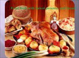 Fried duck with baked potatoes and bread