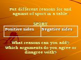 Put different reasons for and against of sport in a table: SPORT What reasons can you add? Which arguments do you agree or disagree with?