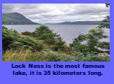 Lock Ness is the most famous lake, it is 35 kilometers long.