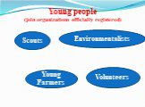 Young people (join organizations officially registered). Scouts Volunteers Young Farmers Environmentalists
