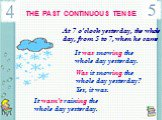 THE PAST CONTINUOUS TENSE. At 7 o'clock yesterday, the whole day, from 5 to 7, when he came. It was snowing the whole day yesterday. Was it snowing the whole day yesterday? Yes, it was. It wasn't raining the whole day yesterday.