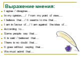 Выражение мнения: I agree / disagree… In my opinion,…/ From my point of view,... I believe that…/ It seems to me that… I am in favour of…/ I am against the idea of… According to… Some people say that… It is said / believed that… There is no doubt that… It goes without saying that… We must admit that