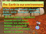 The Earth is our environment. If we are not worried about the Earth, some ecological problems appear: Air and water are polluted Forests are cut down Animals are damaged Wildlife is disturbed Litter is put into water Health is spoiled
