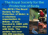 The Royal Society for the Protection of Birds. The RSTB (The Royal Society for the Protection of Birds) is a voluntary organization in Britain. It was founded in 1889 with the aim of protecting wild birds. The society has over 200,000 members.