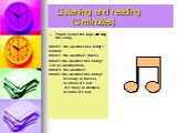 """Listening and reading (3 minutes). Pupils listen the tape and sing the song. What's the weather like today?"""" Refrain: What's the weather? (twice). What's the weather like today? Tell us weatherman, What's the weather? What's the weather like today? It snowy in Russia, In China it's not. It's rainy i"""