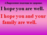 4.Вырaжение надежды на здоровье. I hope you are well. I hope you and your family are well.
