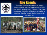 The two largest non-political youth organizations are the associations of the Boy Scouts and the Girl Guides. The most important thing for a Scout is to make a promise that he would do his best to do his duty to. Boy Scouts