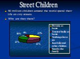 40 million children around the world spend their life on city streets. Why are they there? Street Children