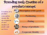 Branding tools: Creation of a product concept. Creation of a product conception means the development of new models of goods and services