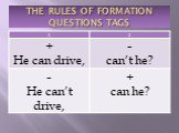 THE RULES OF FORMATION QUESTIONS TAGS