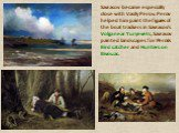 Savrasov became especially close with Vasily Perov. Perov helped him paint the figures of the boat trackers in Savrasov's Volga near Yuryevets, Savrasov painted landscapes for Perov's Bird catcher and Hunters on Bivouac.