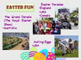 Easter Fun. Easter Parades England USA Canada. Rolling Eggs USA. The Grand Parade (The Royal Easter Show) Australia
