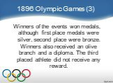 1896 Olympic Games (3). Winners of the events won medals, although first place medals were silver, second place were bronze. Winners also received an olive branch and a diploma. The third placed athlete did not receive any reward.