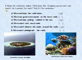 2. Read the sentences below. What does Mrs. Kingsley say we must and mustn't do to protect the reefs? Tick (V) the sentences. a) We must keep the reefs clean. [ ] b) We must grow more plants on the coral reefs. [ ] c) We must stop putting rubbish in the sea. [ ] d) We mustn't visit coral reefs. [ ]