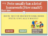How much homework does Pete usually have? Pete usually has a lot of homework (How much?). #13