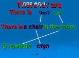 There is / are There is Что? где? a chair in the room . В комнате стул. для ед.ч.