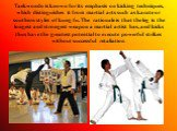 Taekwondo is known for its emphasis on kicking techniques, which distinguishes it from martial arts such as karate or southern styles of kung fu. The rationale is that the leg is the longest and strongest weapon a martial artist has, and kicks thus have the greatest potential to execute powerful str