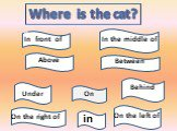 Where is the cat? On of In front of Above Between Under Behind On the right of On the left of In the middle of in
