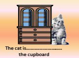 on the right of. The cat is………....………….. the cupboard